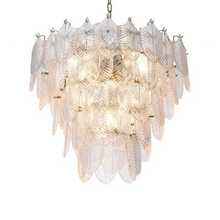 Luxurious nickel and clear glass chandelier