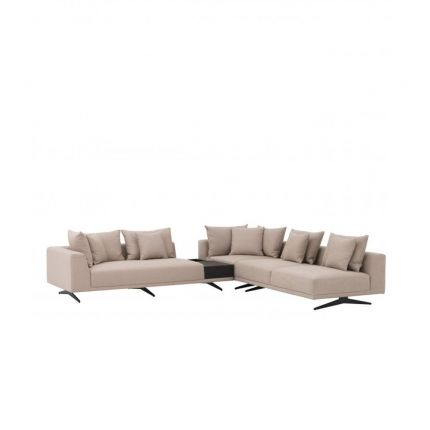 A glamorous sand-coloured corner sofa with contrasting black legs
