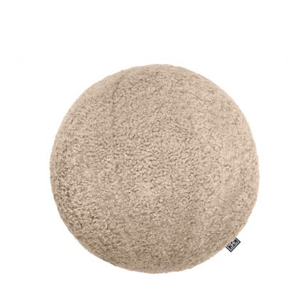 A luxurious spherical cushion in canberra sand upholstery