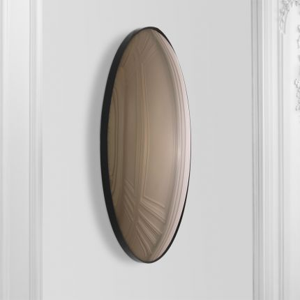 A luxurious brown-tinted convex mirror with a defining black rim