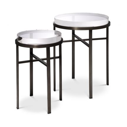 A stylish 2 piece set of side tables in a bronze finish by Eichholtz