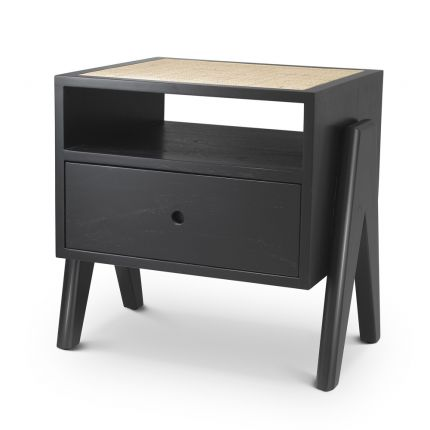 Eichholtz classic black wooden bedside with cane rattan tabletop