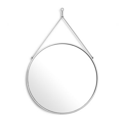 Vintage style polished stainless steel hanging wall mirror by Eichholtz