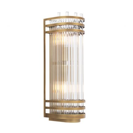 Luxurious antique brass and glass wall lamp