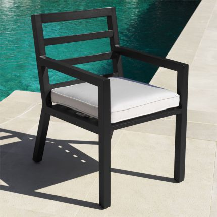 Contemporary black finish outdoor dining chair with neutral cushion by Eichholtz