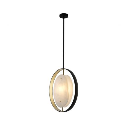 A luxurious gold and gunmetal pendant with alabaster details