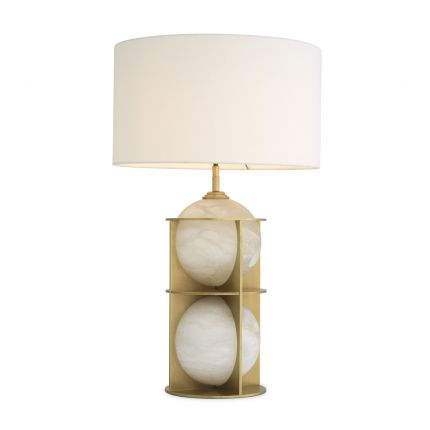 Luxurious alabaster and antique brass table lamp by Eichholtz