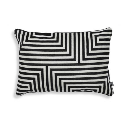 A luxurious black and white abstract geometric cushion