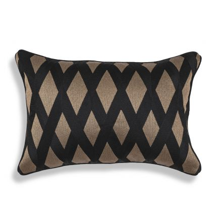 Luxurious Eichholtz black and gold patterned rectangular cushion