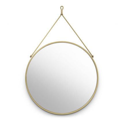 Vintage style round wall mirror in brushed brass finish by Eichholtz