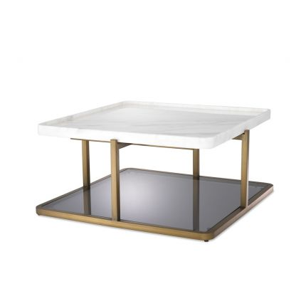 A stylish brushed brass, marble and smoked glass coffee table