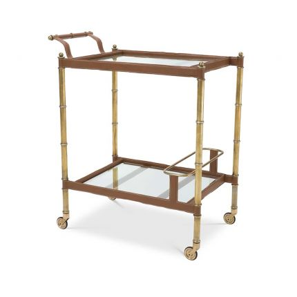 Two-tiered drinks trolley in a tan leather and antiqued brass finish.