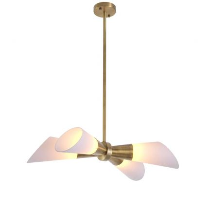 A chic ceiling light with four glass shades and an antiqued brass finish.
