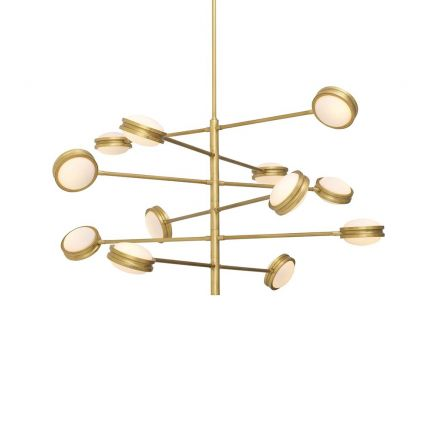 Brass chandelier with multiple adjustable arms