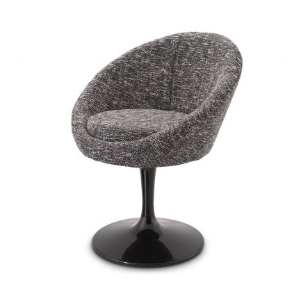 A sophisticated Cambon Black dining chair by Eichholtz with a tub-shaped seat and a black central leg with a swivel base