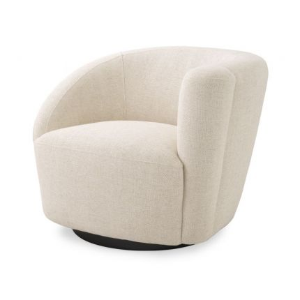 A stylish swivel chair with an asymmetric back upholstered in a natural linen fabric mounted on a black base