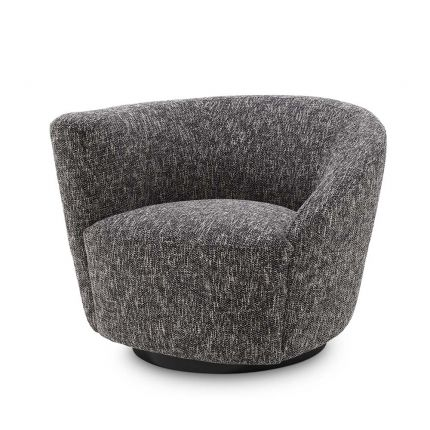 A moody and asymmetrical swivel chair in a Cambon Black finish.