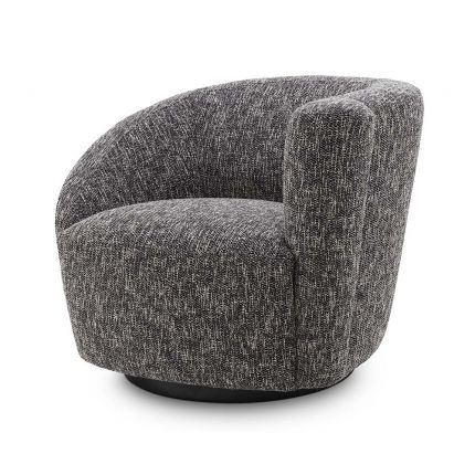 A moody and asymmetrical, right-facing swivel chair in a Cambon Black finish.