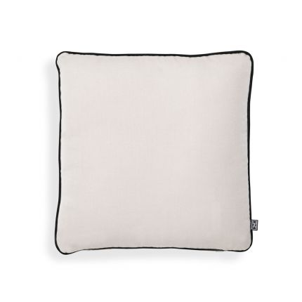 A contemporary canvas outdoor cushion with black piping by Eichholtz