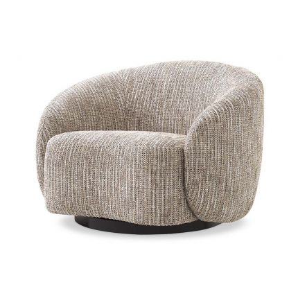 A rustic inspired swivel chair upholstered in a beige like fabric.