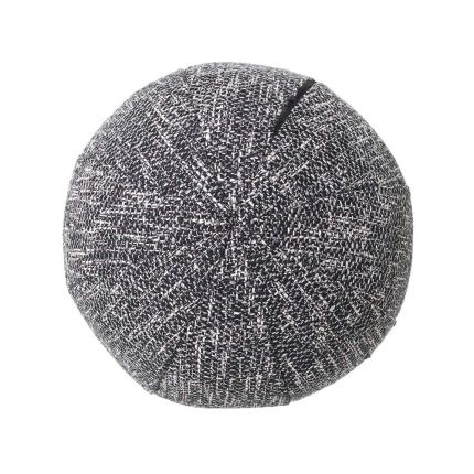 A small, decorative cushion in a gorgeous grey fabric.