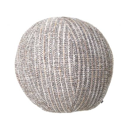 Large, circular pillow in a grainy beige finish.