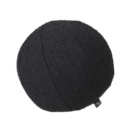 Small and subtle round pillow in a boucle black finish