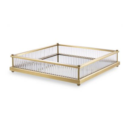 A luxurious antique brass tray with a mirrored glass bottom by Eichholtz