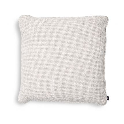 Luxurious square cushion in an off-white fabric.