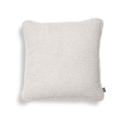 Small off-white cushion with a soft and textured feel.