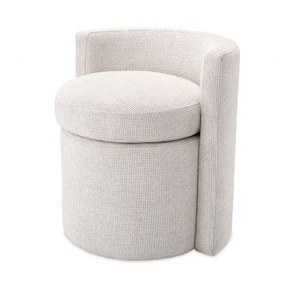 A gorgeous stool upholstered in a soft Lyssa Off-White fabric.