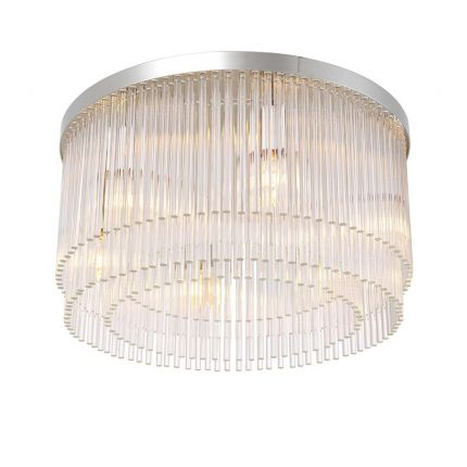 Art deco inspired ceiling lamp in a nickel finish