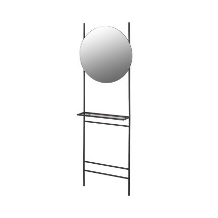 A contemporary multifunctional mirror and shelf unit