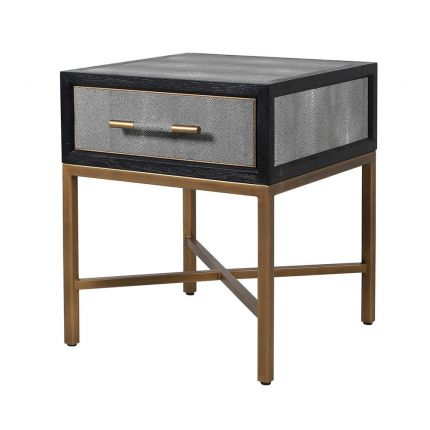 A luxurious grey shagreen side table with one drawer