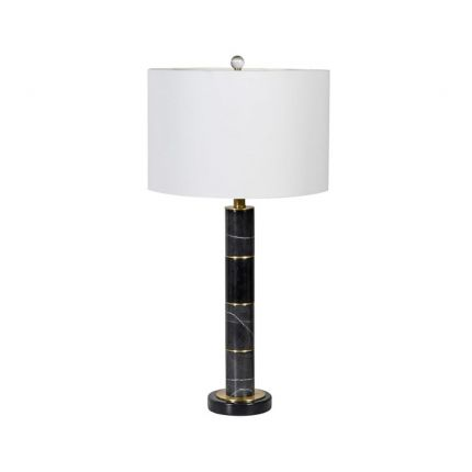 Black and gold marble finish table lamp with white shade