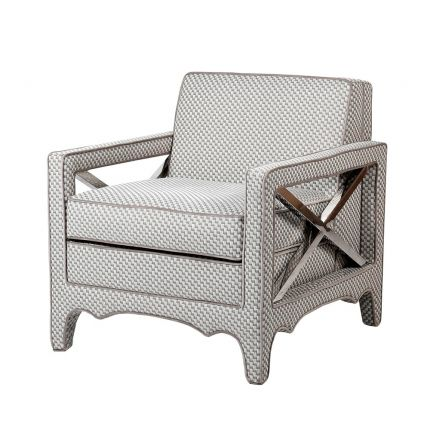 Luxurious grey and white patterned armchair