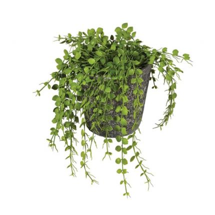 A stylish artificial hanging fern plant in a grey pot