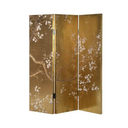 A stylish Japanese-inspired dressing screen in a golden finish