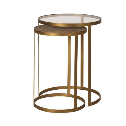 A tropical, modern set of two rattan and glass side tables