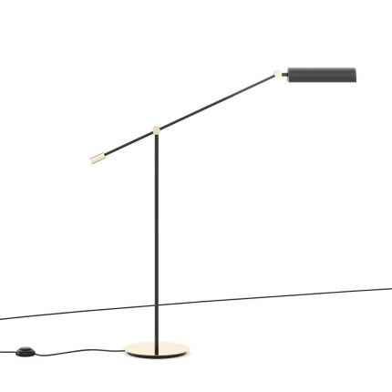 Modern industrial style floor lamp with black lampshade