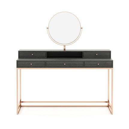 An elegant eucalyptus dressing table with a copper base and accents