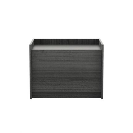 Dark grey wooden bedside table with 2 drawers