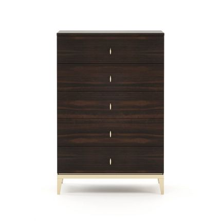 A luxurious chest of drawers in a smoked eucalyptus finish with golden accents