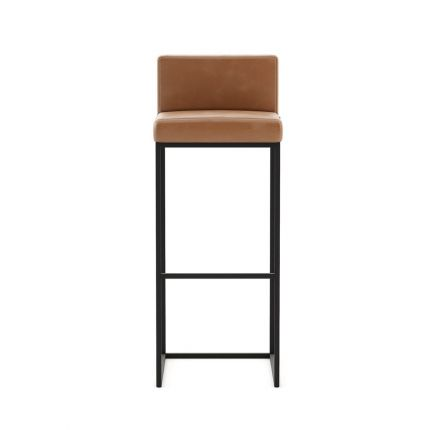 A luxurious tall bar stool in Seoul Camel leather with an iron base