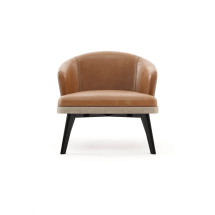 A chic, Mid-Century inspired armchair with leather upholstery and contrasting black ash legs