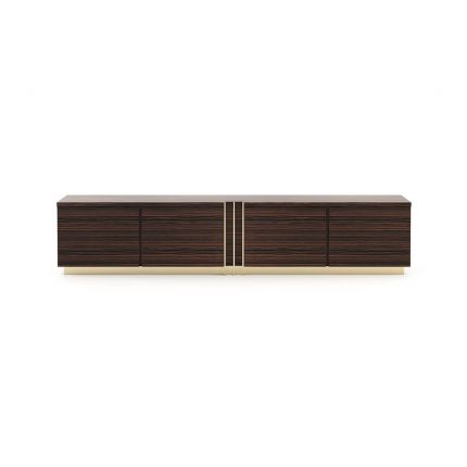A stylish, glossy eucalyptus and copper stainless steel TV cabinet entertainment unit