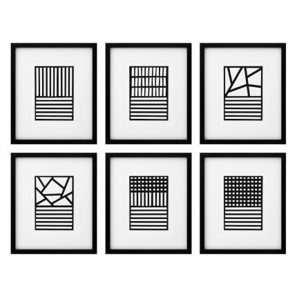 Set of 6 monochrome, abstract prints in black frame with clear glass