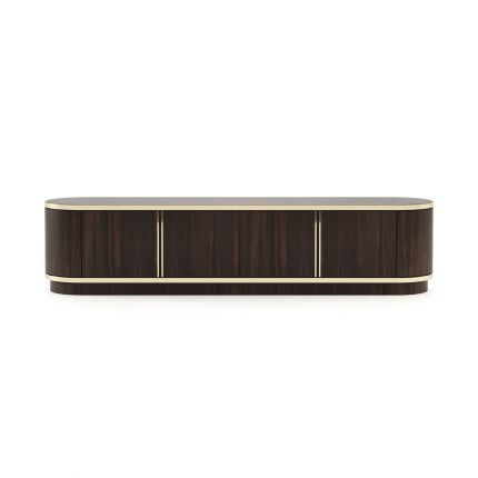 A mid-century and early century-inspired smoked oak TV base entertainment unit