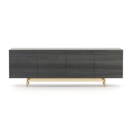 A contemporary sideboard made from eucalyptus wood with a golden, stainless steel base