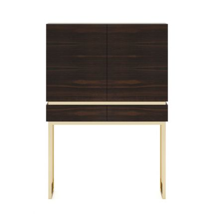 A chic, contemporary bar cabinet with retro undertones and golden accents